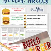 Work on social skills in a delicious way! This packet will have your students hungry to use their good social skills. There are activities for: Problem Solving, Expected and Unexpected Behaviors, and Perspective Taking.Each student is given a burger mat. As students draw cards and respond the the situations, they may add the topping on their card to their burger. With toppings like cheese, pickles, and peanut butter there are bound to be some wacky and fun combinations!