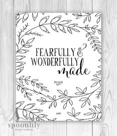Nursery Bible Verse Art, Scripture Art, Christian Wall Decor, Inspirational Wall Art, Fearfully and Wonderfully Made Psalm 139:14