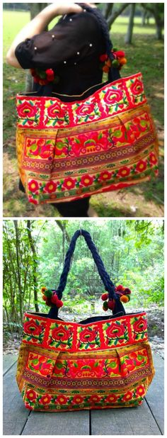 222cd51d149a Bohemian Bag - Boho Embroidery Bag - Hmong Ethnic Tote Bag ( FREE SHIPPING  WORLDWIDE )
