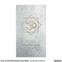 Gray & Gold OM Symbol Yoga Meditation Instructor Business Card