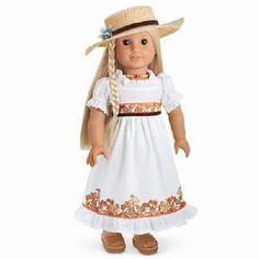 American Girl *JULIE BIRTHDAY DRESS SET* ~ Dress/Straw Hat/Choker ~ NIB/RETIRED  #AmericanGirl #DollOutfit