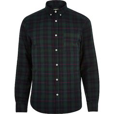 Green check brushed flannel shirt - check shirts - shirts - men