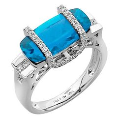 Swiss Blue Topaz Diamond Gold Ring   From a unique collection of vintage more…