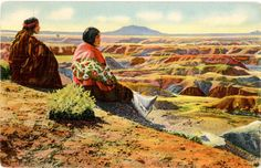Vintage Arizona postcard of Hopi Indians sitting at edge of the Painted Desert in Grand Canyon National Park.