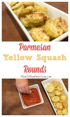 Parmesan yellow squash rounds make the perfect veggie for dipping. Get your kids involved in the kitchen by having them help bread and coat the rounds! to Mom Nutrition- Katie Serbinski, MS, RD Easy Vegetable Side Dishes, Healthy Side Dishes, Good Healthy Recipes, Side Dish Recipes, Vegetable Recipes, Healthy Snacks, Vegetarian Recipes, Dinner Recipes, Healthy Eating