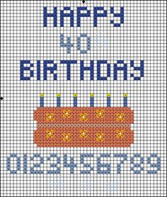 Free Cross Stitch Pattern - Happy Birthday Cake - Right click and save the pattern from here on Pinterest and follow the link to get the pattern key/info.