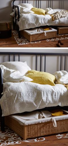 Make use of the space under your bed with stylish storage. Each IKEA RÖMSKOG underbed storage box has a unique look because it's made with braided rattan, a natural material that, together with the cotton-lined interior, helps air circulate to keeps the contents fresh.