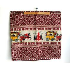 Folk Art Textiles, German Pillow Cover, Embroidered Trim, Red... ($48) ❤ liked on Polyvore featuring home, home decor, holiday decorations, horse home decor, heart home decor, fabric home decor, red home accessories and red home decor