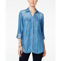 Style & Co. Denim Utility Shirt, ($44) ❤ liked on Polyvore featuring tops, sun wash, work shirts, blue shirt, blue top, style&co tops and denim shirt