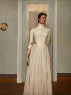 transistoradio:  Fernand Khnopff, Portrait of Marguerite Khnopff (1887), oil on canvas, mounted on wood. Collection of Royal Museum of Fine ...
