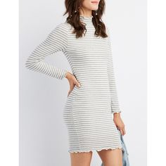 Charlotte Russe Lettuc-Trim Striped Sweater Dress ($22) ❤ liked on Polyvore featuring dresses, multi, white body con dress, mock neck long sleeve dress, long sleeve bodycon dress, white sweater dress and long-sleeve sweater dresses