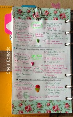 She's Eclectic: My week in my filofax #38 - close up