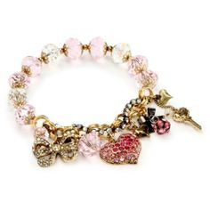 Betsey Johnson Heart Multi-Charm Half Stretch Bracelet