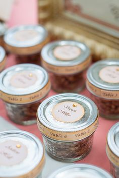 "Candy Pecan Favors/ Escort Cards""Peach, Pink & Gold Southern Wedding Inspiration via  http://www.weddingcolors.net/elegant-peach-pink-gold-southern-wedding-inspiration.html 