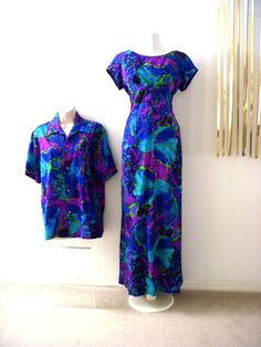 Vintage 60s Hawaiian Maxi Dress and Matching by OmAgainVintage