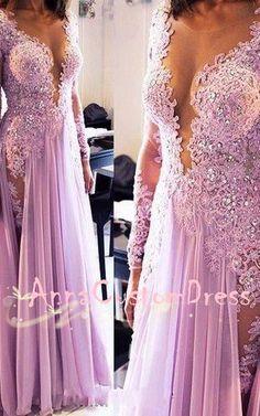 illusion V-neck Lilac Lace Chiffon Long Prom Dress 2018