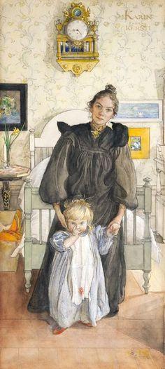 The Athenaeum - Karin and Kersti Carl Larsson (1898) Göteborgs konstmuseum Painting - watercolor