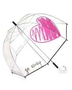 "Felix Rey Rain Rain Go Away Clear Umbrella - Fall in love with rainy days with this clear umbrella featuring a large heart graphic and ""Rain Rain Go Away"" print. Clear Umbrella, Bubble Umbrella, Under My Umbrella, Rain Umbrella, Weather Umbrella, White Umbrella, Cute Umbrellas, Umbrellas Parasols, Rain Go Away"