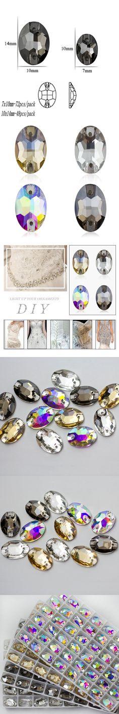 Sew On Crystal Strass Flatback Sewing Oval rhinestones Jewelry making DIY Crystal beads for Wedding /Dance dress decoration