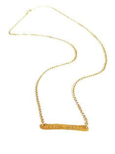 Coordinate Bar Necklace from Rockabella Jewels in Silver bracelet or necklace with the coordinates to Paris or Tortola BVI :)
