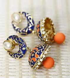 Blue and Orange jhumka earring Indian Accessories, Jewelry Accessories, Jewelry Design, Jhumki Earrings, Pandora Earrings, Pandora Jewelry, Piercings, Orange Earrings, India Jewelry