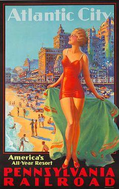 Pennsylvania Railroad, Atlantic City America's All Year Resort. Circa 1930's. Artist Edward Eggleston.