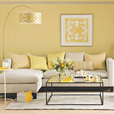 33 ideas living room furniture red yellow walls for 2019 Grey And Yellow Living Room, Living Room Red, Living Room Paint, Living Room Colors, Living Room Sofa, Living Room Interior, Living Room Furniture, Living Room Decor Yellow Walls, Yellow Gray Room