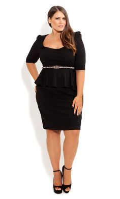 Plus Size Puff Sleeve Peplum Dress - City Chic (Perfect for my Fiona Goode costume)
