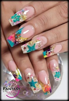 Nails manicura verano Summer Nails - All For Hair Color Trending Fancy Nails, Bling Nails, Swag Nails, Pretty Nails, Summer Acrylic Nails, Cute Acrylic Nails, Summer Nails, Pretty Nail Designs, Toe Nail Designs