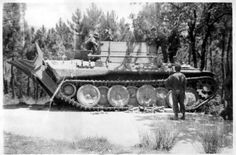 A American soldier inspecting a captured intact Bergepanther