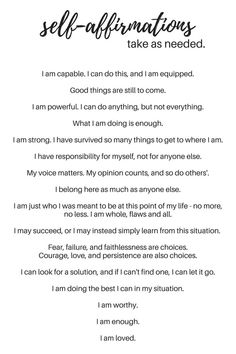 Examples of self-affirmations - why we need self-affirmation - What You Make It blog