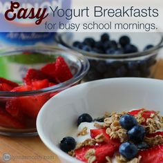 Yogurt is one of the easiest breakfasts for school mornings. Top with fruit or make a dip with peanut butter for extra protein.