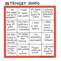 """""""Introvert Bingo"""" LOVE this I dedicate it to my wife and the amazing introverts out there that I love to work with socialize with and to raise (my son). Try this over a week and see if you can get a Bingo. Yelling it out is totally optional. Susan Cain, Introvert Quotes, Introvert Problems, Social Anxiety, Health Anxiety, Anxiety Tips, Frases, Bonheur, Humor"""
