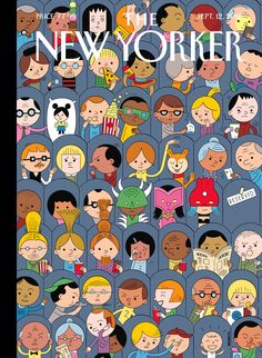 """The New Yorker - Monday, September 12, 2016 - Issue # 4654 - Vol. 92 - N° 28 - Cover """"At the Movies"""" by Ivan Brunetti"""