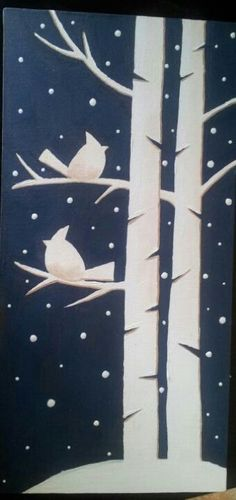 paper window silhouette winter decoration craft idea