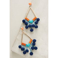 Baublebar Pom-Drop Earrings ($48) ❤ liked on Polyvore featuring jewelry, earrings, navy, navy jewelry, navy earrings, navy blue drop earrings, poms jewellery and navy blue jewelry