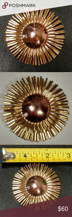 """1940s vintage signed Coro brooch two toned This beautiful brooch is rose gold toned and yellow gold toned (the center circle being rose gold colored).  Marked """"Coro"""" in script and without the copyright mark - which came into use in 1952.  I have been unable to find the corresponding design patent, but my educated guess, given the mark and the style, is that it is a WWII era piece.  Lovely floral or sunburst geometric design.  This is in excellent vintage condition and is both highly…"""