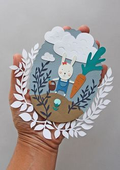 Illustration paper cut on my hand | Flickr - Photo Sharing! Origami Paper, Diy Paper, Cut Paper Illustration, Papier Diy, Paper Magic, Easter Art, Paper Artwork, Paper Design, Kirigami
