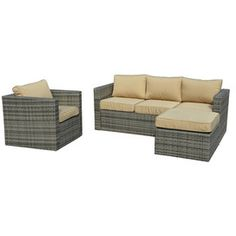 The-Hom Caribe Wicker Patio Seating Set - Grey with Beige Cushions Outdoor Sofa, Outdoor Furniture Sets, Outdoor Decor, Rattan Sofa, Wicker, Beige Cushions, Patio Seating, Sofa Set, Porch Ideas