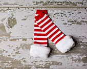 Deluxe faux fur Legwarmers - Christmas leg warmers - red stripe candy cane leg warmers for girls and kids - leggings