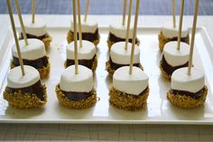 S'mores on a stick. Genius! Smores Sticks, Fererro Rocher, Nutella, Mini Desserts, No Bake Desserts, Bite Size Desserts, Dessert Recipes, Party Desserts, Just Desserts