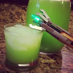 Non-alcoholic Sonic Screwdriver Drink for Doctor Who Party...oj, fresca, blue gatorade.