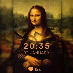 Mona Lisa is a Fitbit Watchface that displays time, date and heart rate on the main screen of the device, having Mona Lisa painting broken in the background.