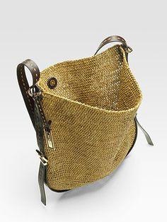 Michael Kors  Santorini Raffia & Leather Crossbody Bag
