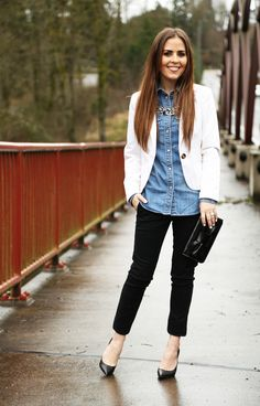 denim top, white blazer, black pants, heels and a clutch