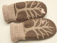 Sweater Mittens Up Cycled Wool Recycled Wool by ForMyDarling, $38.00
