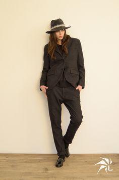 Andora Hat. Cuddia Shirt.   Boyfriend Pants Chamonix Wool.