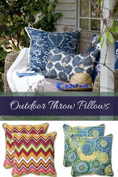 If you have a backyard, front porch or patio you want to decorate consider using some cute outdoor throw pillows.  You will love the variety of colors from vivid blue, green, yellow, purple, orange and red.  Furthermore you will find many different patterns, fabrics and textures.  In fact it does not matter if you have a beach decor, country decor, vintage or rustic decor you will find something for you.  Especially true if you like tropical or floral outdoor pillows.