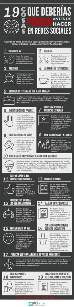 Para participar sin problemas en el mundo del social media, es importante repasar las 19 cosas que no debes hacer en las Redes Sociales.