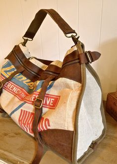 Canterbury Seeds - Iowa - Vintage Feed Sack Leather Satchel Bag - Americana OOAK Canvas & Leather Tote... Selina Vaughan.